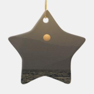 Sunset over Paros island mountains Ceramic Star Ornament