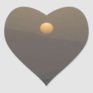 Sunset over Paros island mountains Heart Sticker