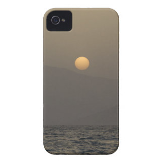 Sunset over Paros island mountains iPhone 4 Cover