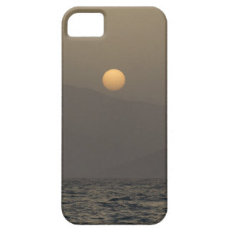 Sunset over Paros island mountains iPhone 5 Cases