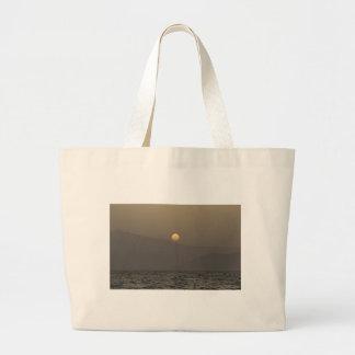 Sunset over Paros island mountains Large Tote Bag