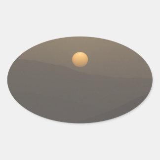 Sunset over Paros island mountains Oval Sticker