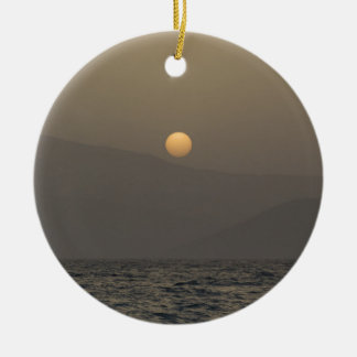Sunset over Paros island mountains Round Ceramic Ornament