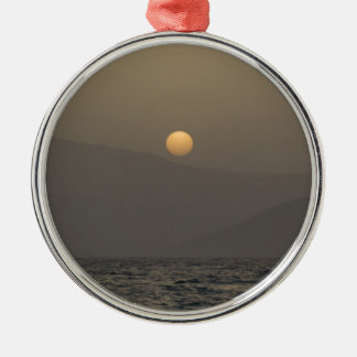 Sunset over Paros island mountains Silver-Colored Round Ornament