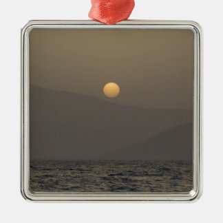 Sunset over Paros island mountains Silver-Colored Square Ornament