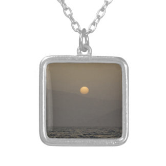 Sunset over Paros island mountains Silver Plated Necklace