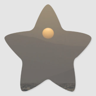 Sunset over Paros island mountains Star Sticker