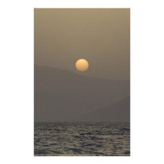 Sunset over Paros island mountains Stationery
