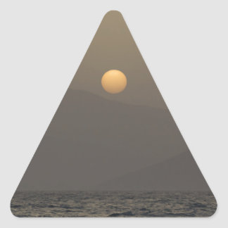 Sunset over Paros island mountains Triangle Sticker