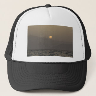 Sunset over Paros island mountains Trucker Hat