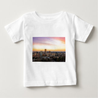 Sunset over Portland OR Cityscape and Mt Hood Baby T-Shirt