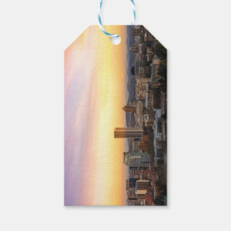 Sunset over Portland OR Cityscape and Mt Hood Gift Tags