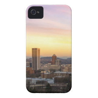 Sunset over Portland OR Cityscape and Mt Hood iPhone 4 Case
