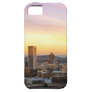 Sunset over Portland OR Cityscape and Mt Hood iPhone 5 Cases