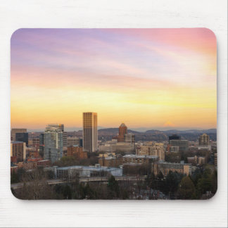 Sunset over Portland OR Cityscape and Mt Hood Mouse Pad