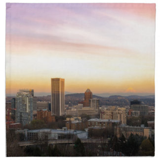 Sunset over Portland OR Cityscape and Mt Hood Napkin