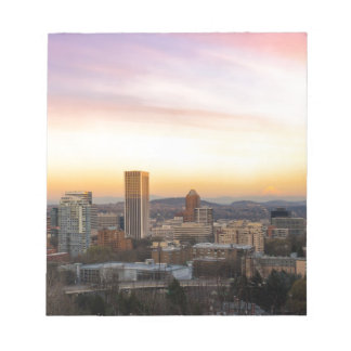 Sunset over Portland OR Cityscape and Mt Hood Notepad