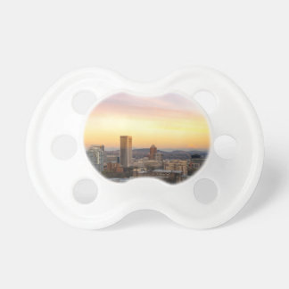 Sunset over Portland OR Cityscape and Mt Hood Pacifier