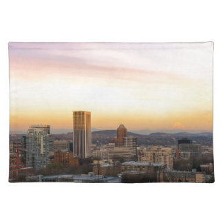 Sunset over Portland OR Cityscape and Mt Hood Placemat