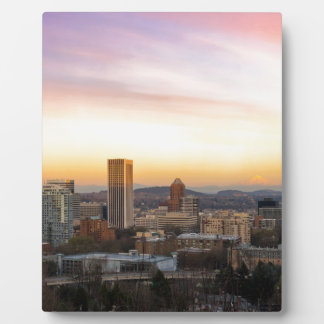 Sunset over Portland OR Cityscape and Mt Hood Plaque