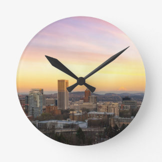 Sunset over Portland OR Cityscape and Mt Hood Round Clock