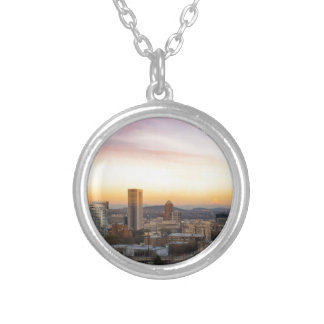 Sunset over Portland OR Cityscape and Mt Hood Silver Plated Necklace