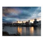 Sunset Over Portland Oregon Downtown City Postcard