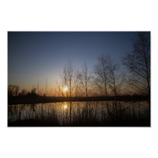 Sunset over Quarry Lake, through trees Poster