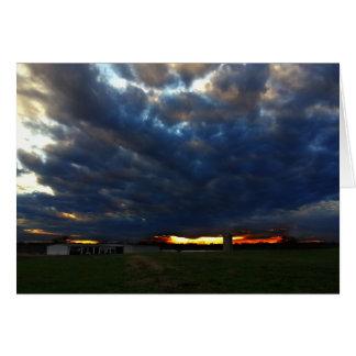 Sunset over Rural Landscape photo greeting card