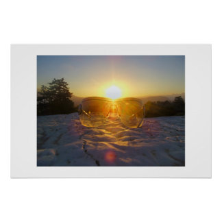 Sunset over sunglasses poster