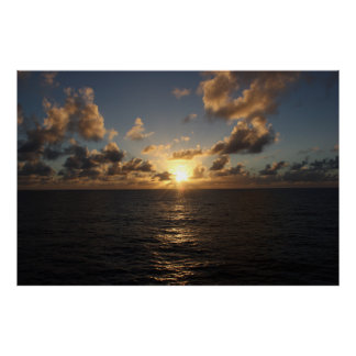 Sunset over the Atlantic from a Cruise Poster