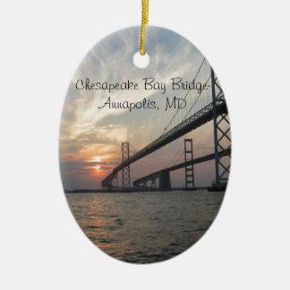Sunset over the Chesapeake Bay Bridge Ceramic Ornament