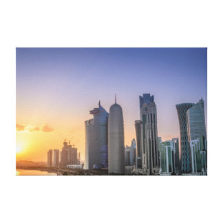 Sunset over the city of Doha, Qatar Canvas Print