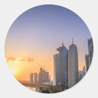 Sunset over the city of Doha, Qatar Classic Round Sticker
