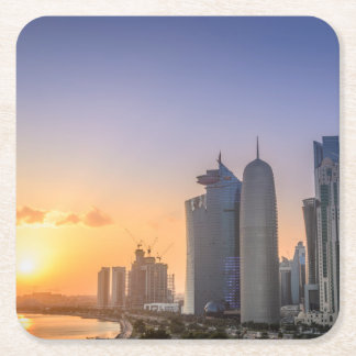 Sunset over the city of Doha, Qatar Square Paper Coaster
