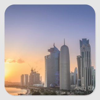 Sunset over the city of Doha, Qatar Square Sticker