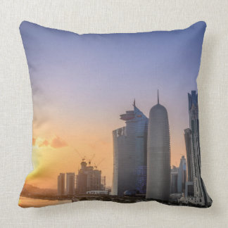 Sunset over the city of Doha, Qatar Throw Pillow