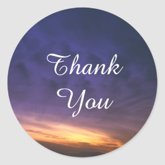 Sunset Over the Desert Thank You Round Sticker