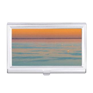 Sunset over the lake Balaton, Hungary Business Card Holder