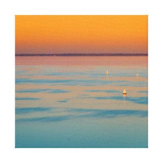 Sunset over the lake Balaton, Hungary Canvas Print