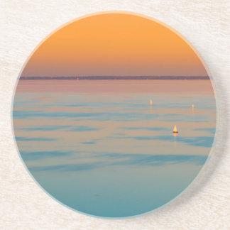 Sunset over the lake Balaton, Hungary Coaster