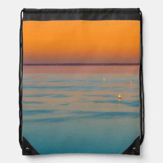Sunset over the lake Balaton, Hungary Drawstring Bag