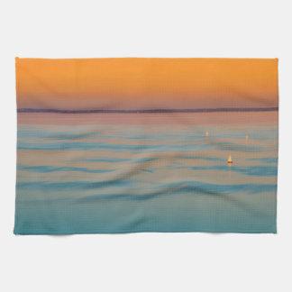 Sunset over the lake Balaton, Hungary Kitchen Towels