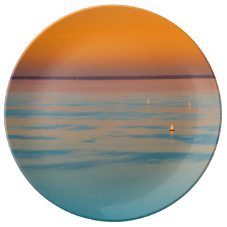 Sunset over the lake Balaton, Hungary Plate