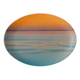 Sunset over the lake Balaton, Hungary Porcelain Serving Platter