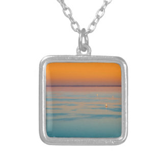 Sunset over the lake Balaton, Hungary Silver Plated Necklace
