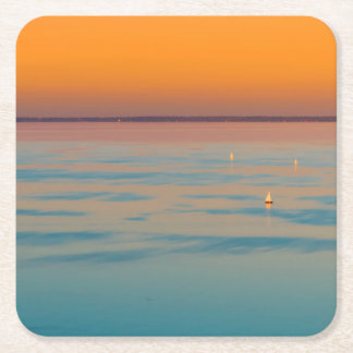 Sunset over the lake Balaton, Hungary Square Paper Coaster