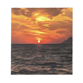 Sunset Over the Mediterranean Sea Notepad