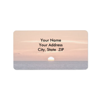Sunset over the Pacific Ocean Label