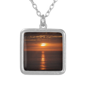 Sunset Over the Pacific Silver Plated Necklace